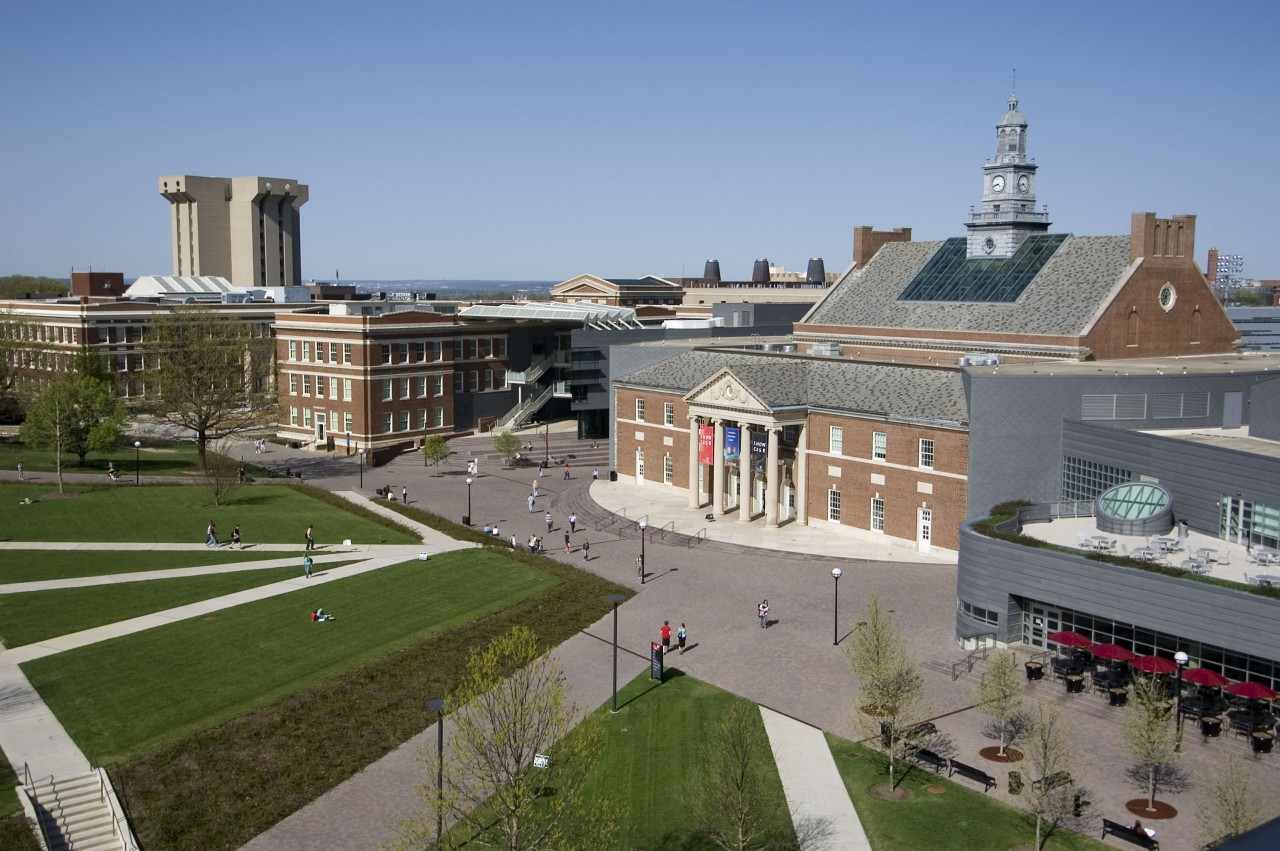 Arial photo of Tangeman University Center on UC's campus