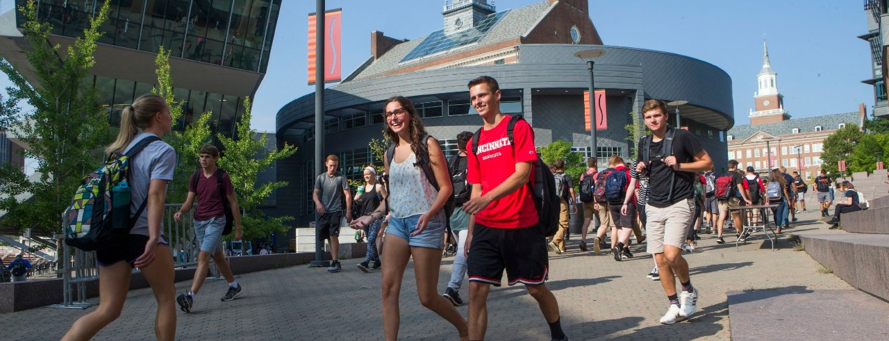several students walking to and from classes near Tangeman University Center