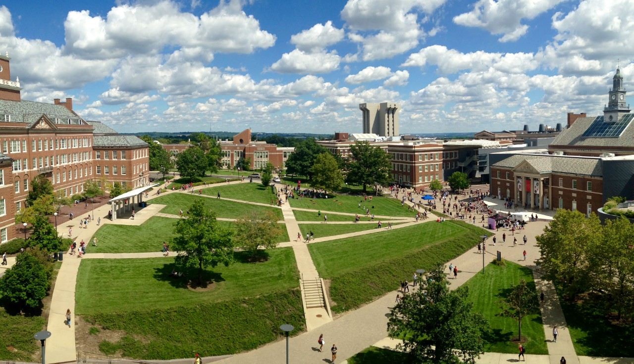 McMicken Commons on a bright, sunny day from above