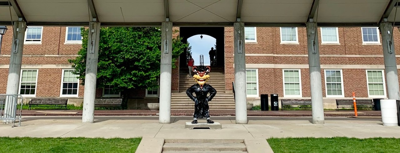 Image of McMicken Hall with Graduation Bearcat standing in front of steps.