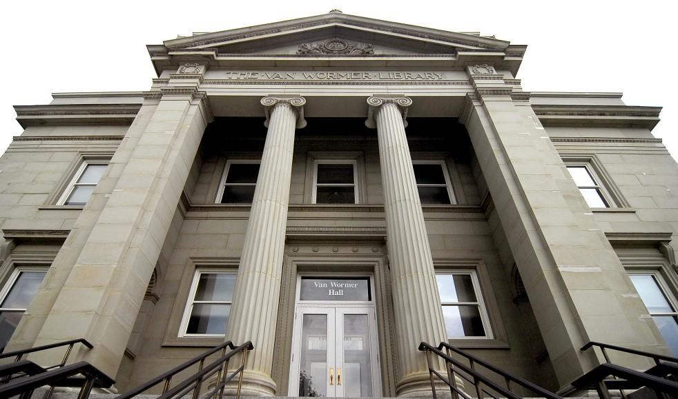 Exterior of front of Van Wormer Hall