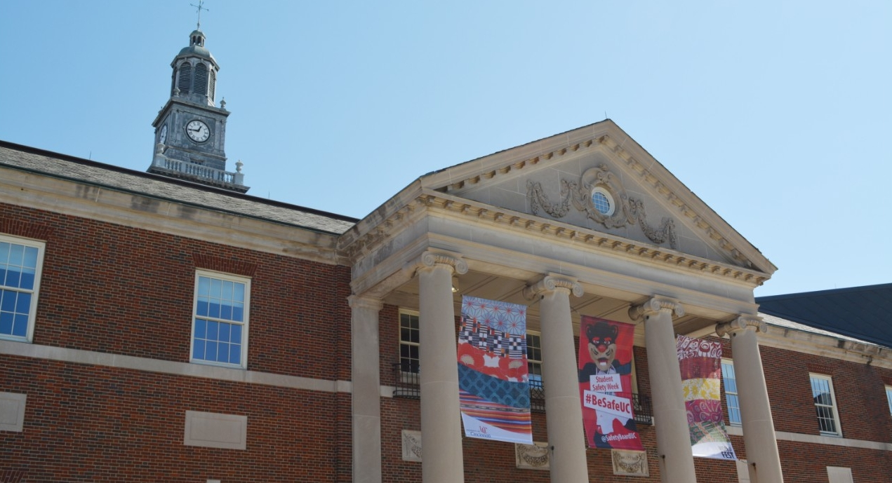A sign advertising Student Safety Week hangs on the front of Tangemen University Center.