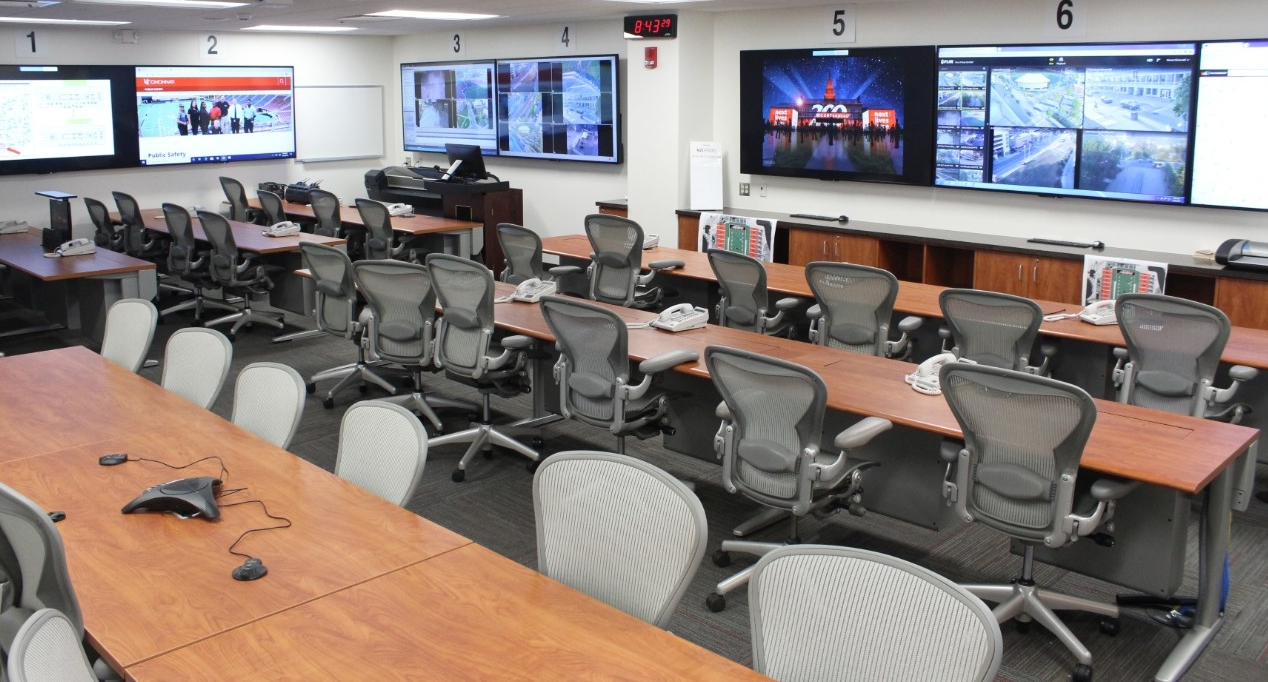 The Public Safety Department's emergency management staff pose in the Emergency Operations Center.