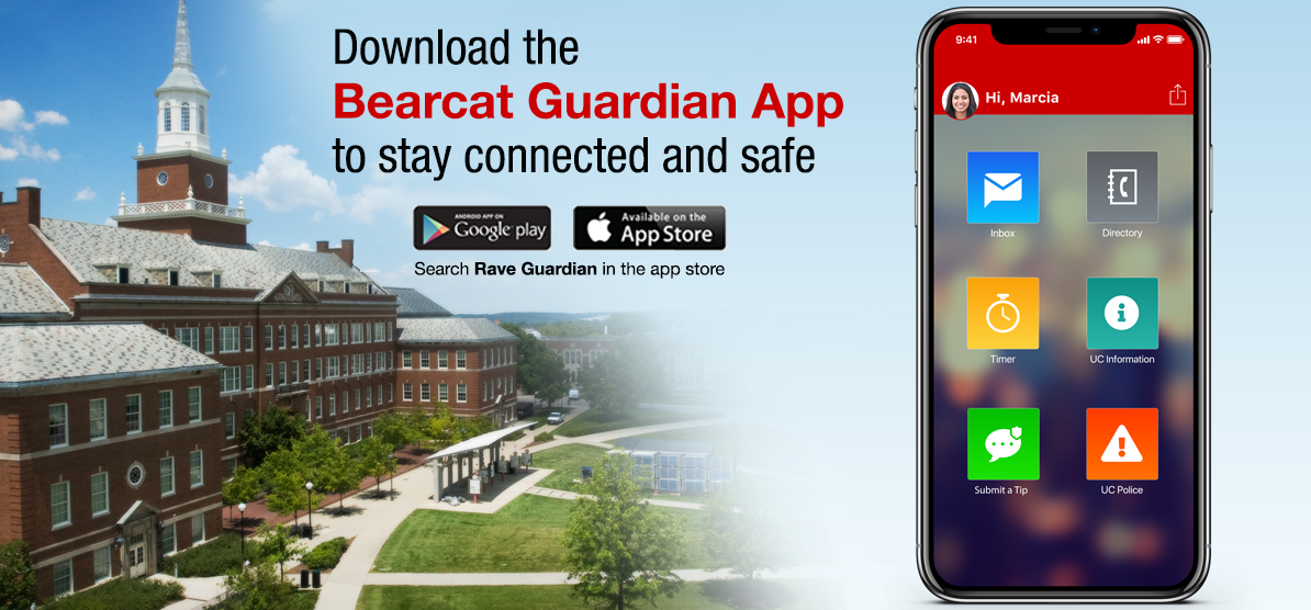 Bearcat Guardian is UC's campus safety app.