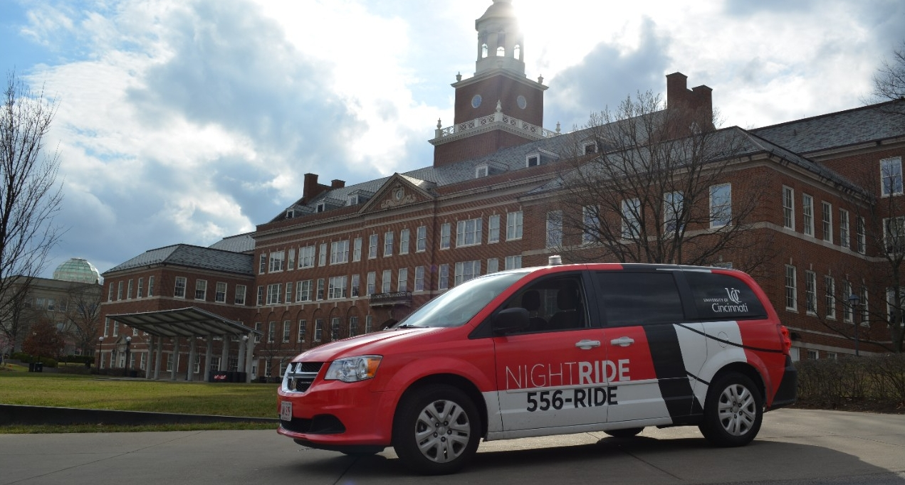 A NightRide van sits in front of McMicken.
