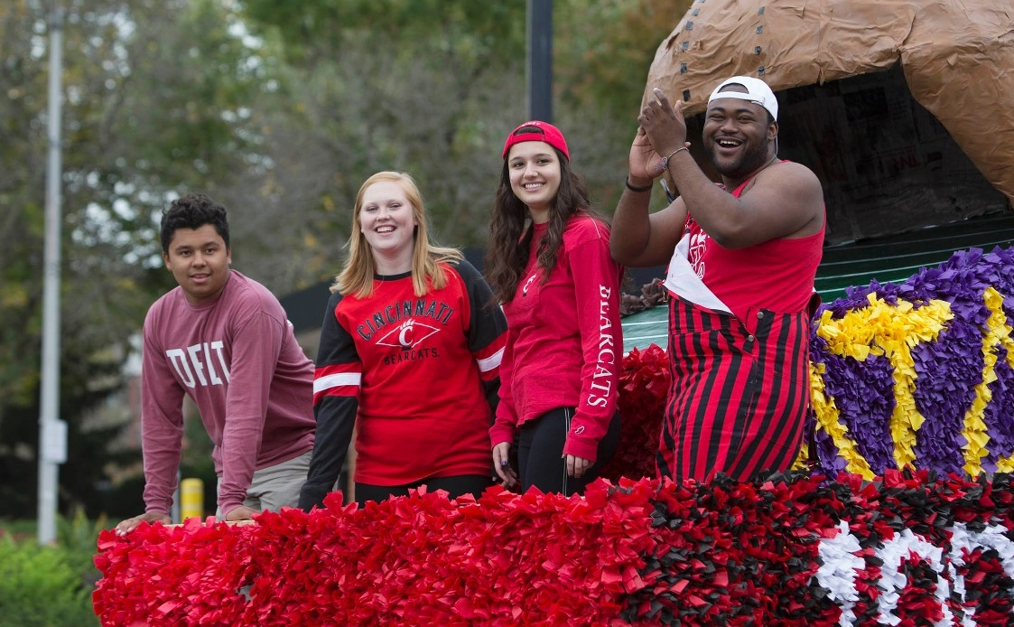 Students on a homecoming float