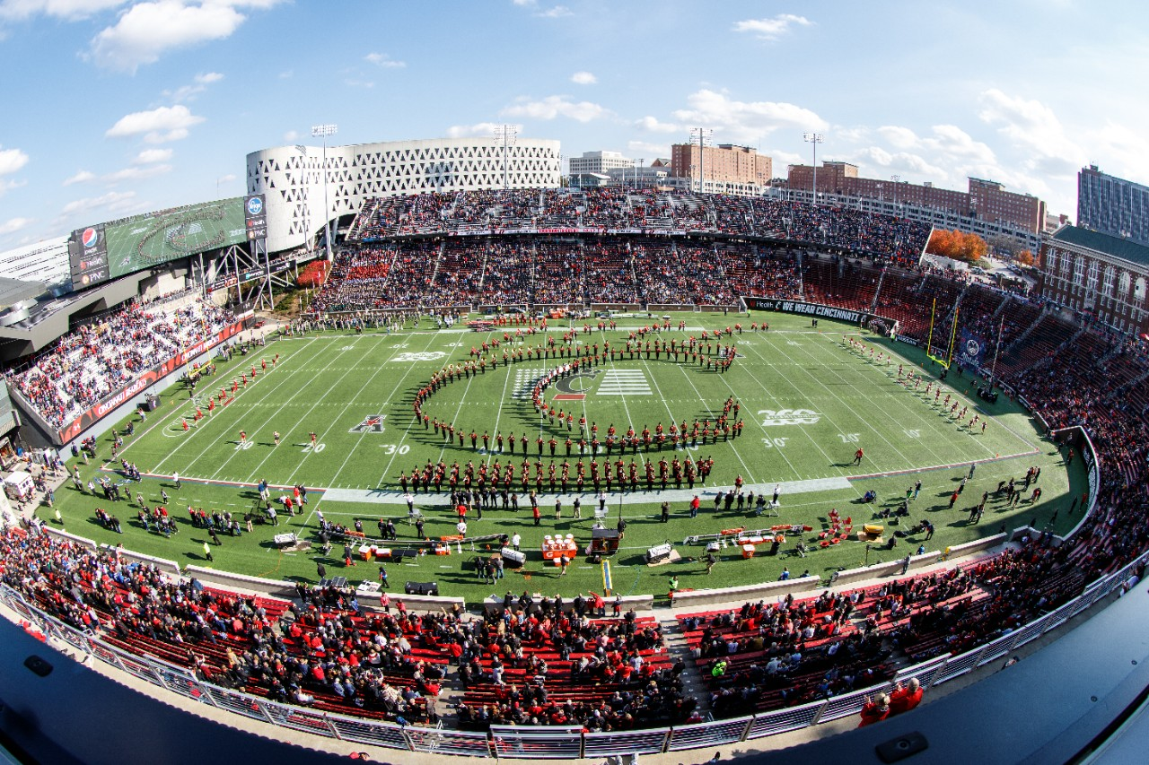 UC marching band in CPAW formation