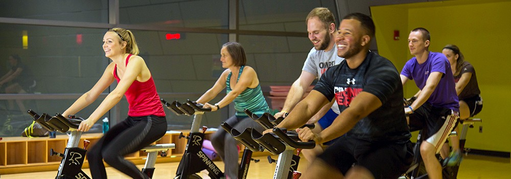 A group spinning class at the Campus Recreation Center.