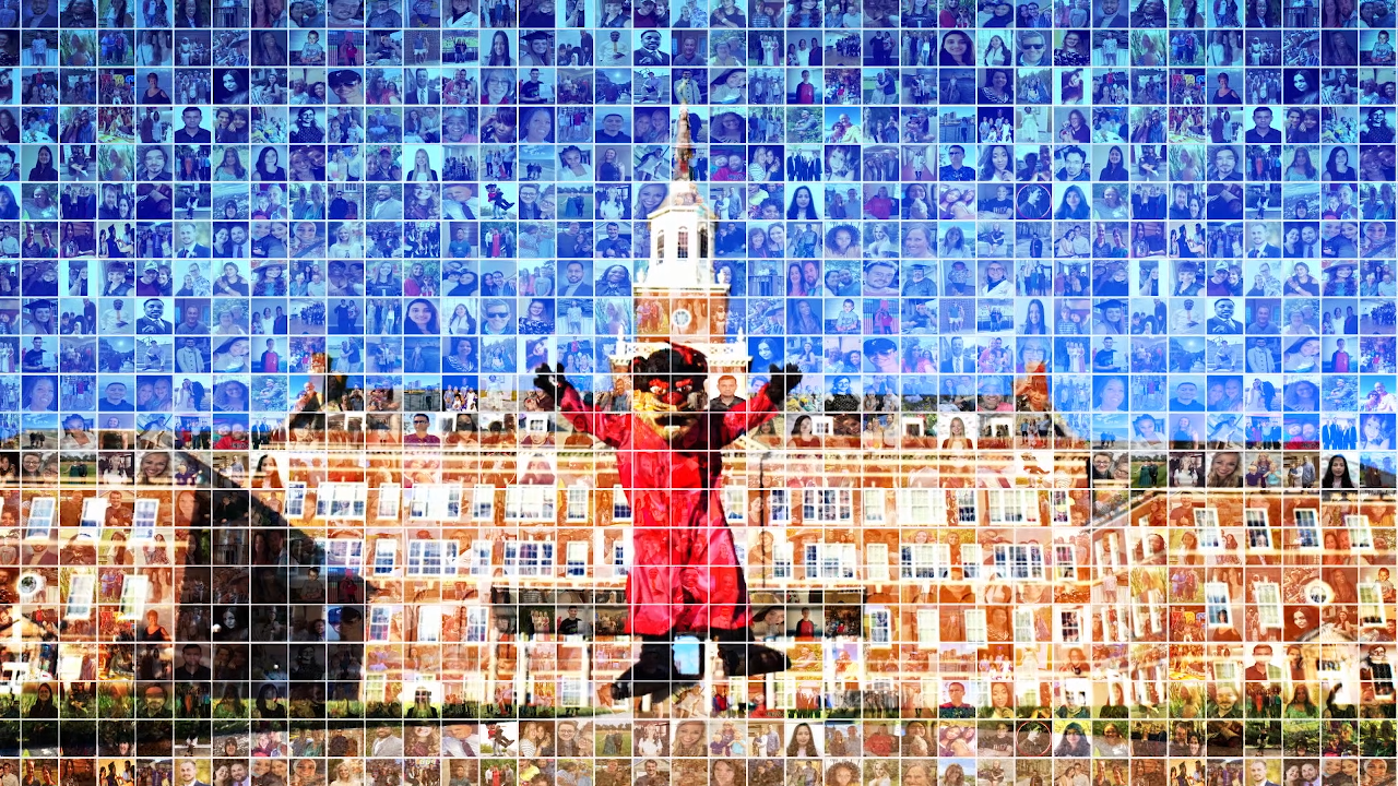 Bearcat jumping in front of McMicken, background is mosaic of student pictures