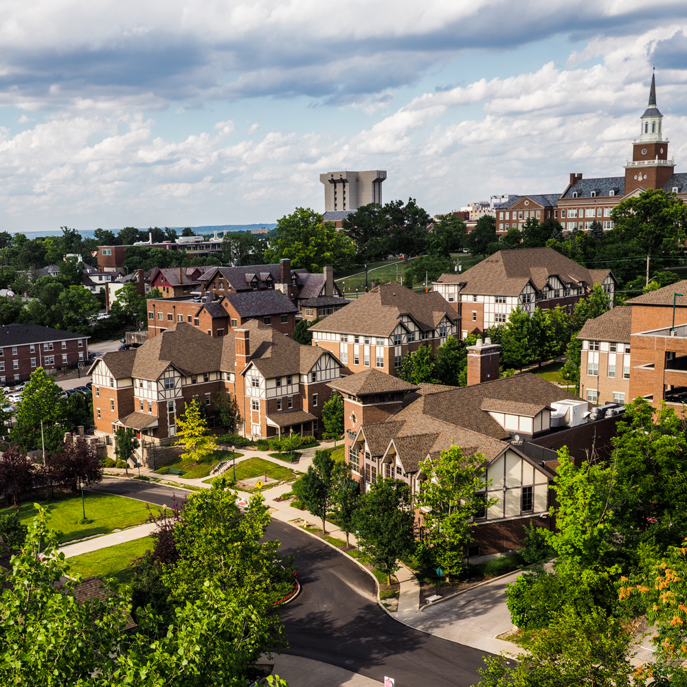 An aerial view of UC's stratford heights