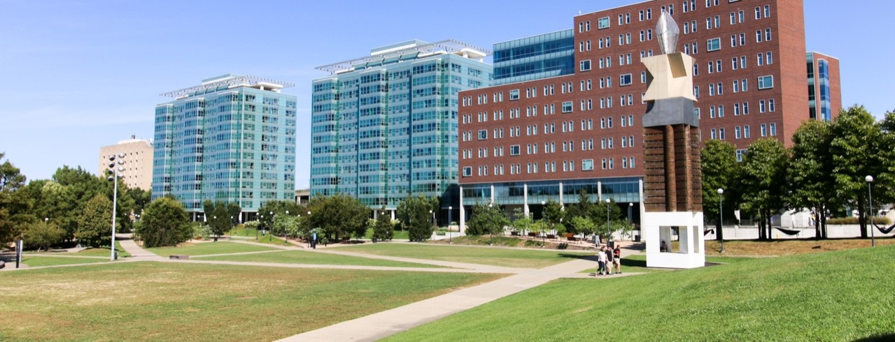 Green space with Scioto, Morgens and Marian Spencer Halls in the background.