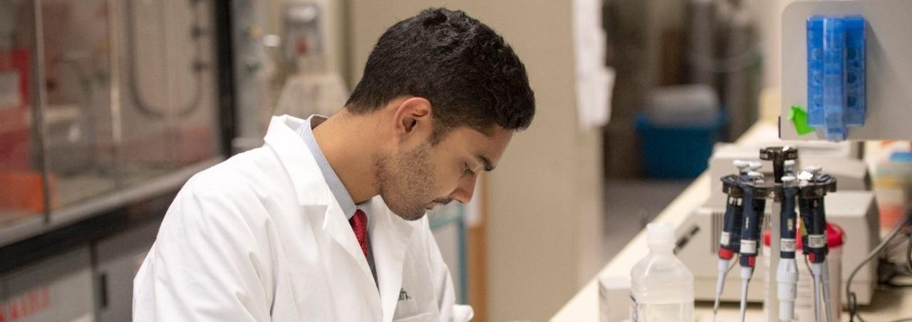 Rahul Sandella shown in a UC College of Medicine laboratory