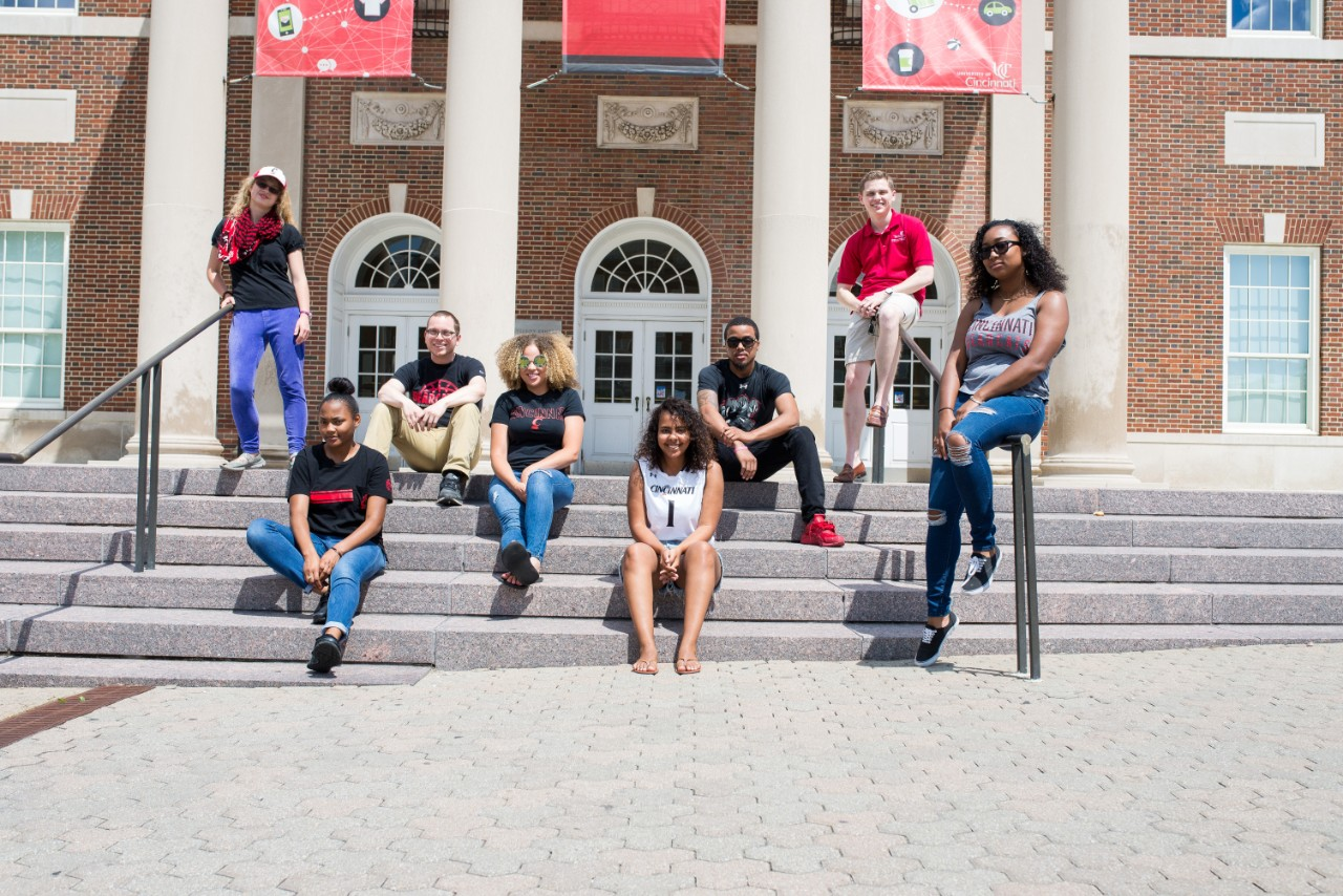 Group of UC students on TUC steps