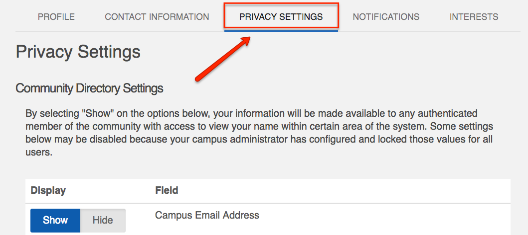 """CampusLINK Privacy Setting page with arrow pointing to the tab labeled """"Privacy Settings"""""""