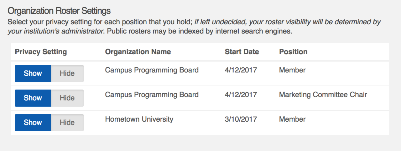 CampusLINK Organization Roster Settings Page