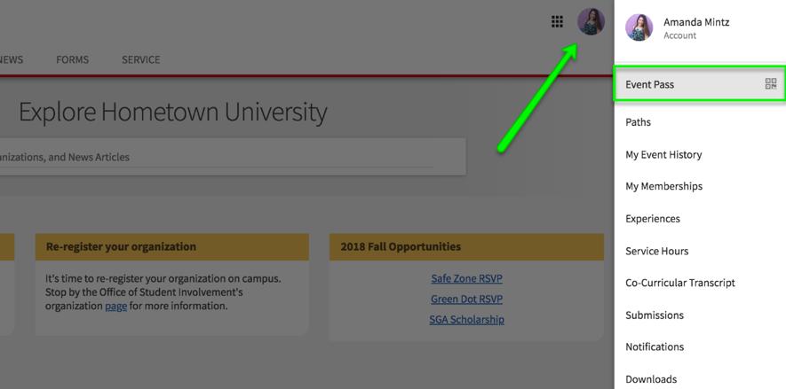 Screen shot of CampusLINK EventPass tab
