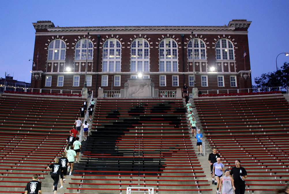 Participants running the stairs of Nippert Stadium for 9/11 Memorial Stair Run