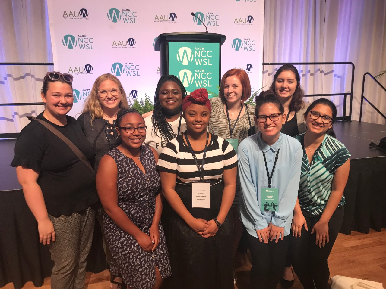 Students at the National Conference for College Women Leaders smiling.
