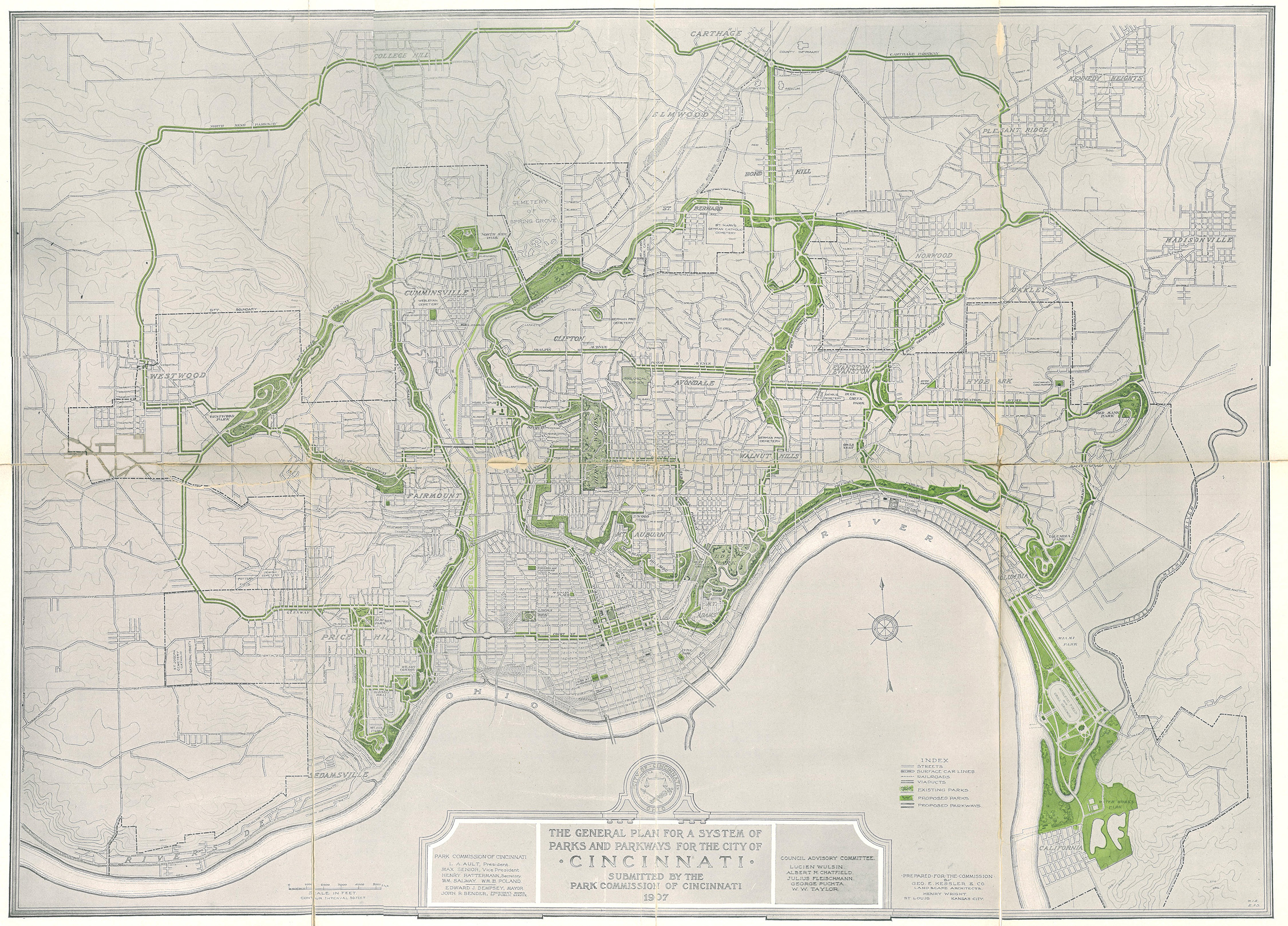 citywide park plan map from  plan. historical information on the greater cincinnati region