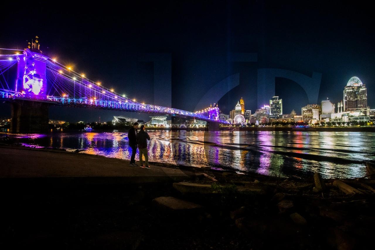 Cincinnati's riverfront during the 2019 BLINK festivities