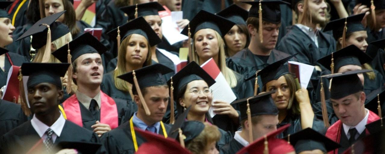 Graduating students banner