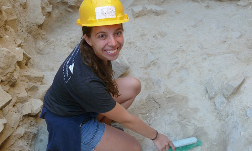 Kerry Ulm, A&S '19 works on a dig site in Greece