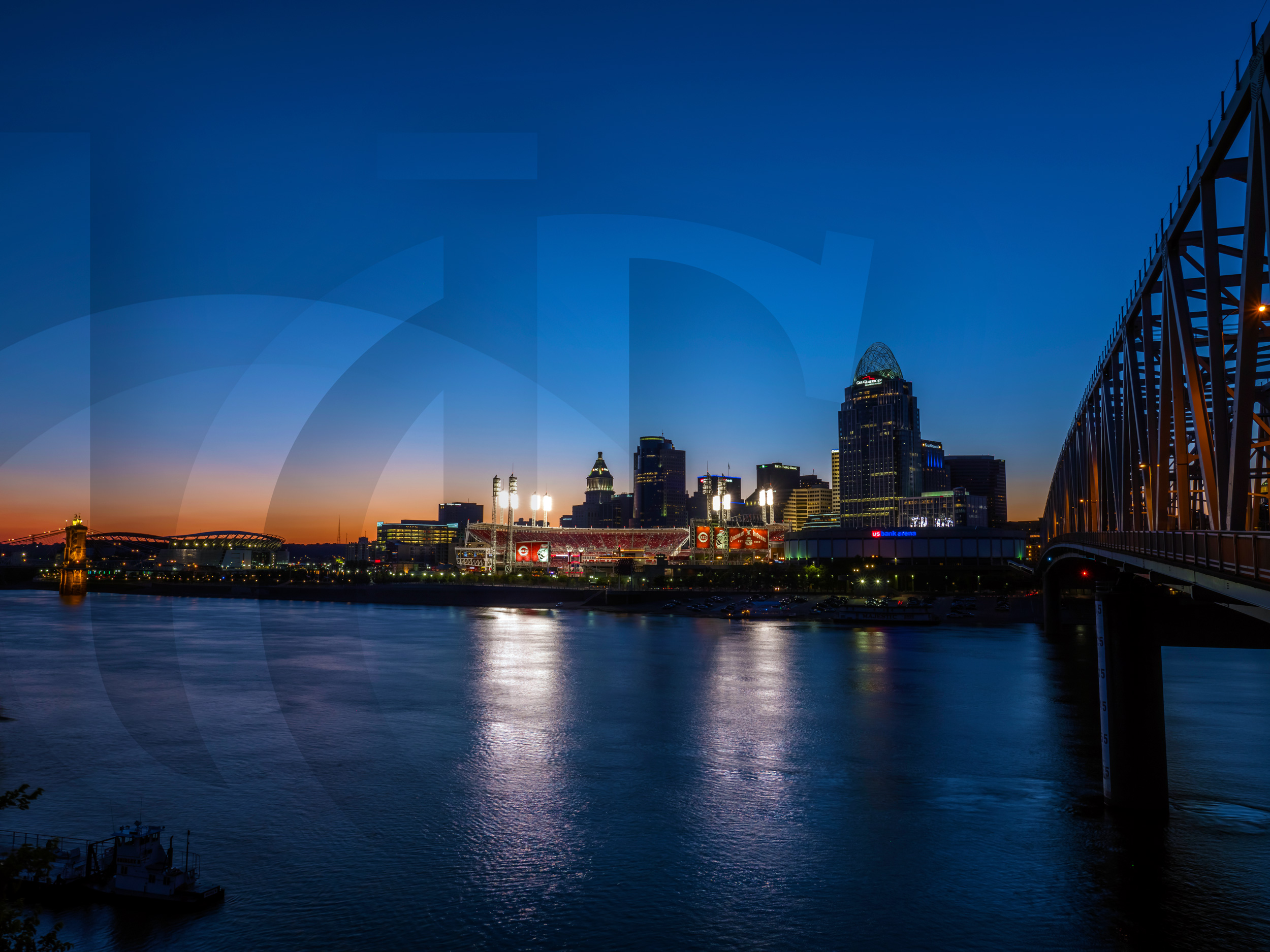 Cincinnati's riverfront at dusk