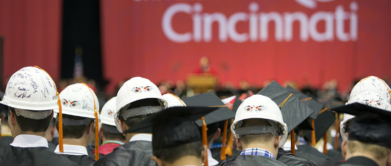 Students at the University of Cincinnati's commencement ceremony