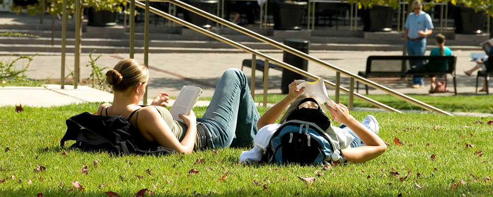 UC Students  studying on campus green