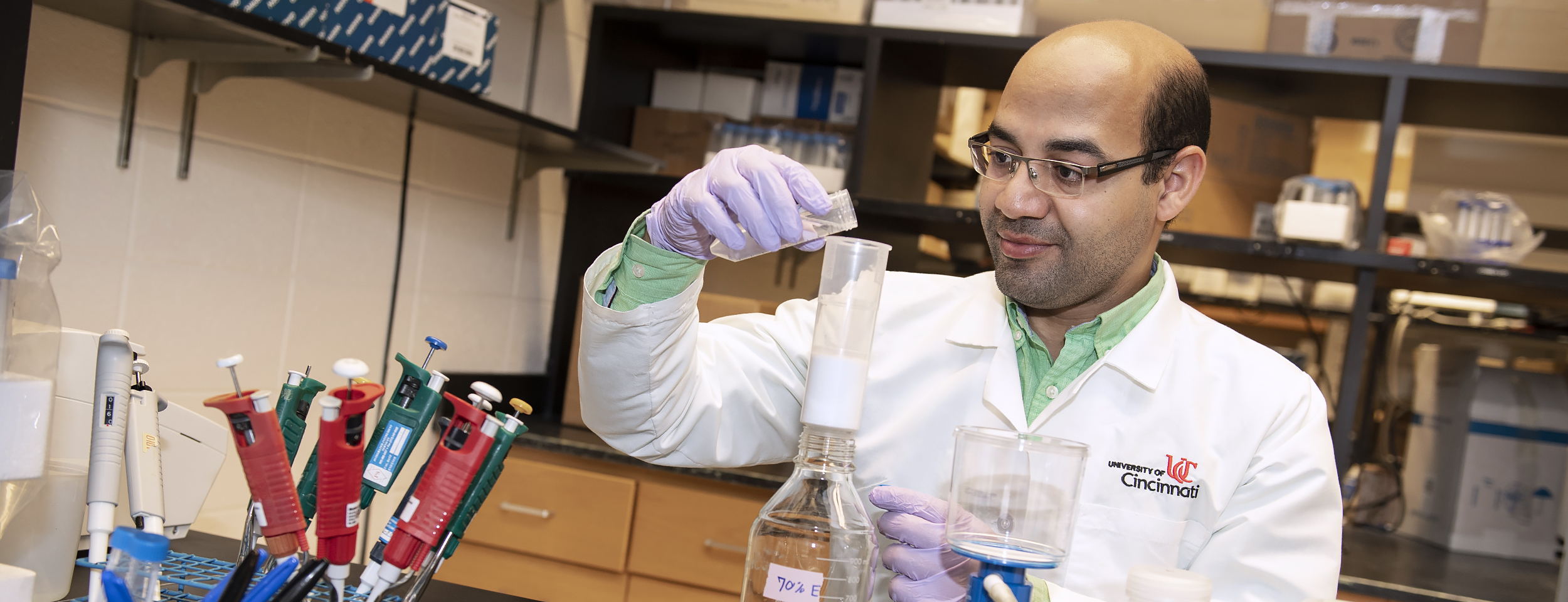 Helal Hetta, PhD, shown in a UC College of Medicine lab.