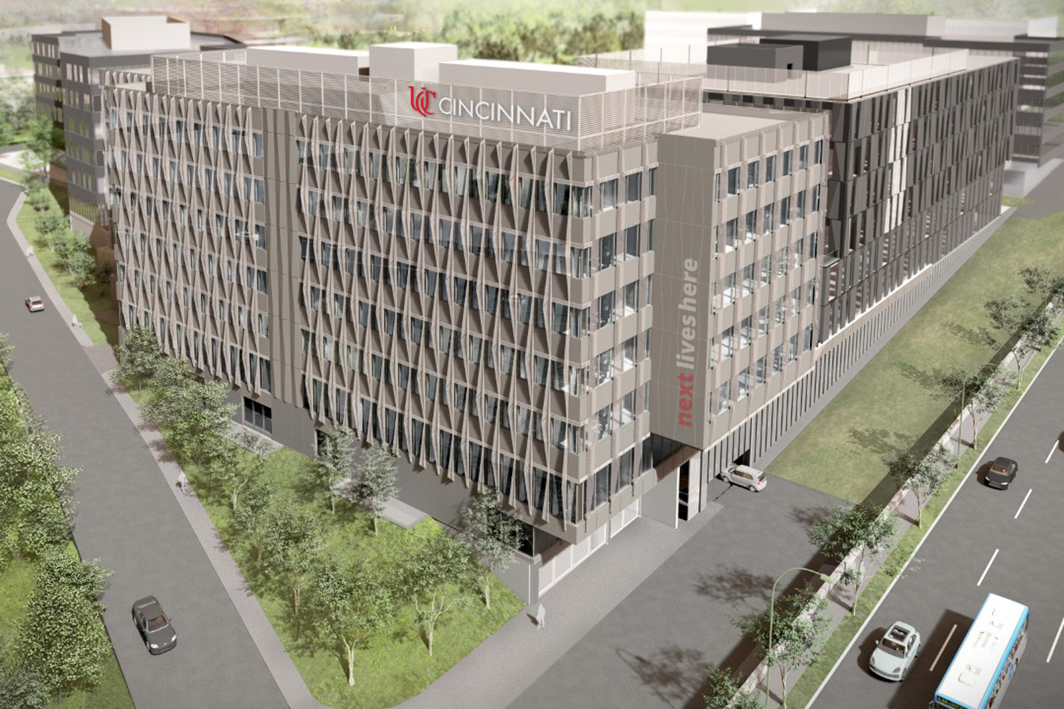 Architectural rendering of UC's new Digital Futures Building