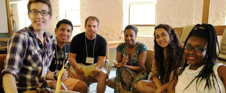 Brad, Kevin, Ryan, Assie, Samie, and Jaz smile at the camera at ARJ 2013