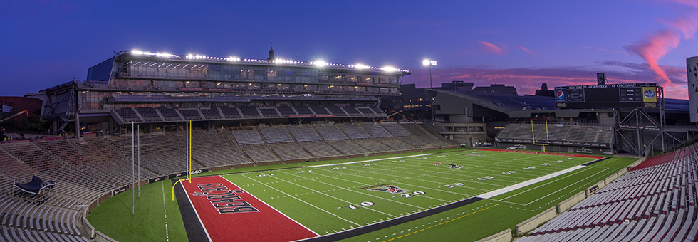 Nippert Stadium at dusk.