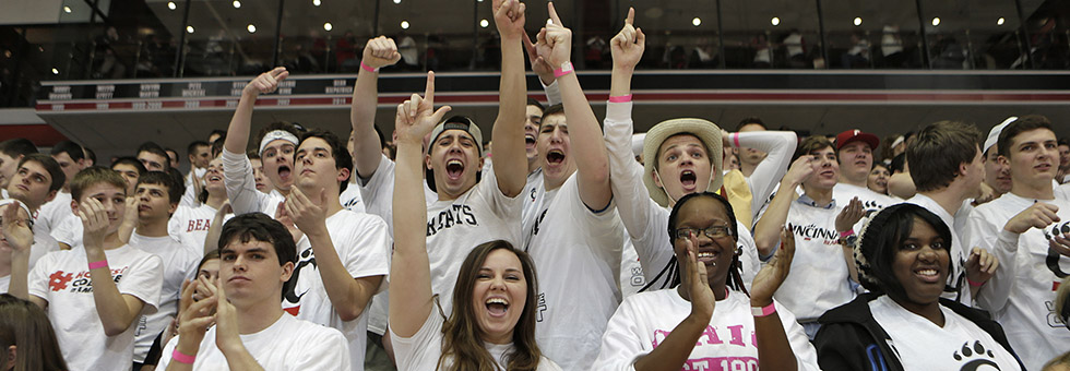 Students cheer on the Bearcats