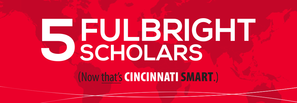 Five Fulbright Scholars graphic.