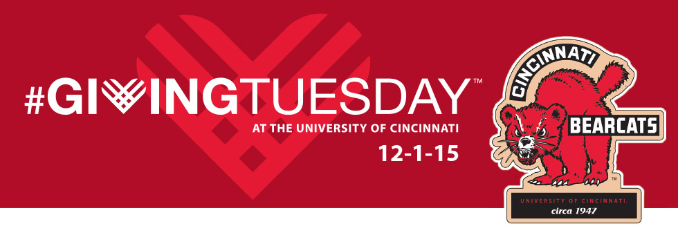 Giving Tuesday graphic with Bearcats ornament.
