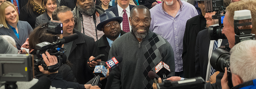Ricky Jackson talks with media following his exoneration.
