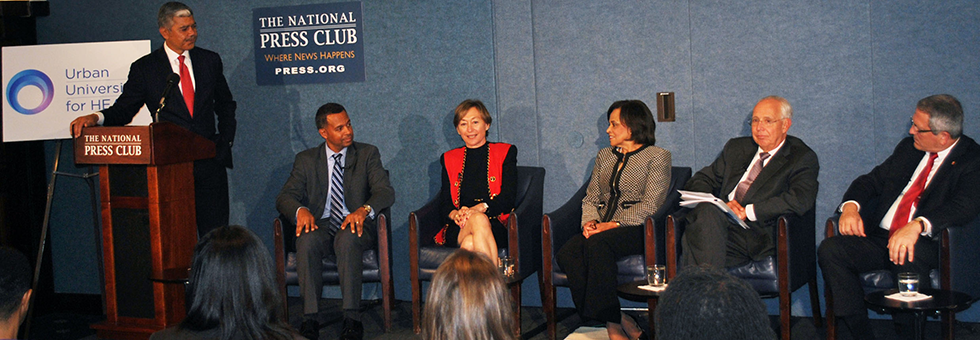 UC College of Nursing Dean Greer Glazer sits on a panel at the National Press Club.
