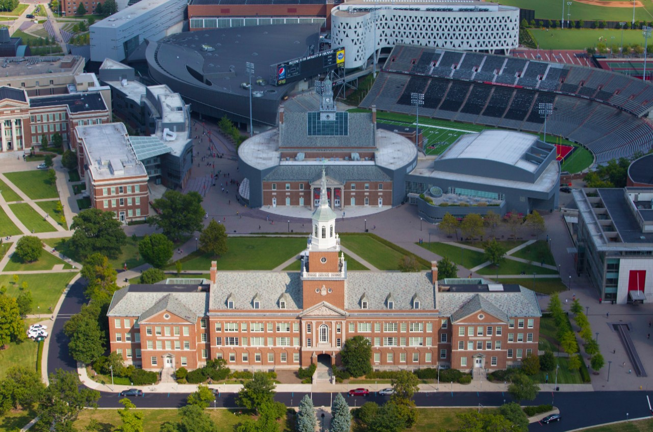 Aerial photo of McMicken Hall in the sunshine