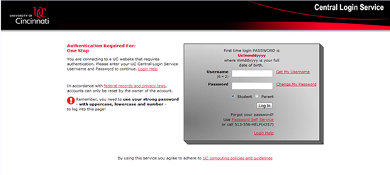 Image of Central Login Service screen