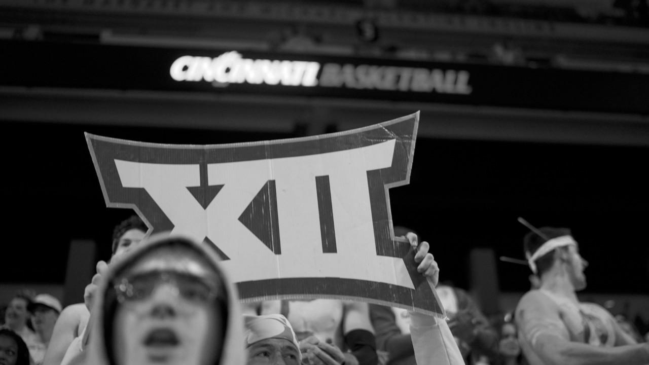 Aerial view of Cincinnati during the Blink festivities in 2019