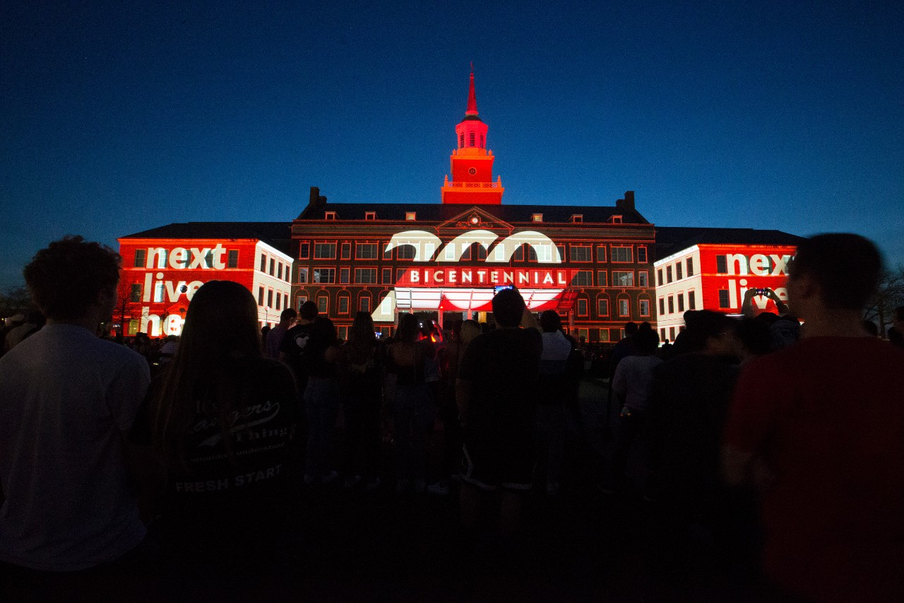 McMicken Hall serves as backdrop to Momentum light show on campus