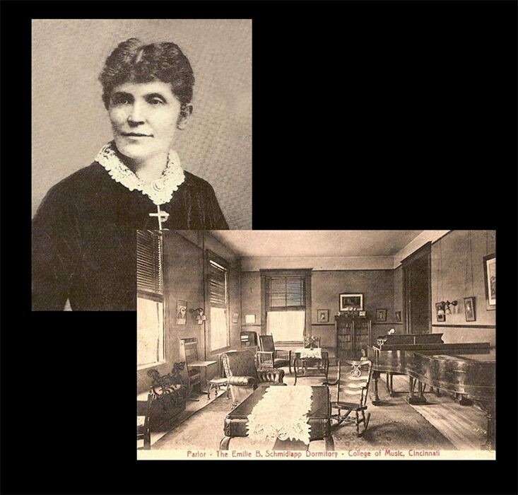 Composite image of Clara Baur and an 1800s classroom