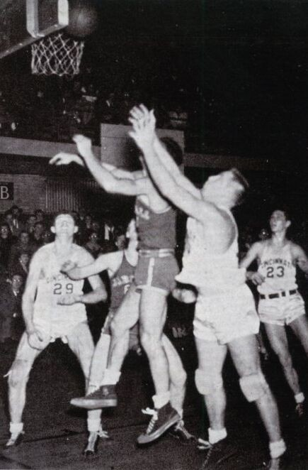 Black and white shot from a 1945 basketball game