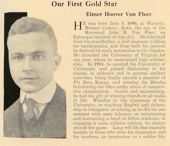 Newspaper clipping of Elmer Hoover Van Fleet's obituary