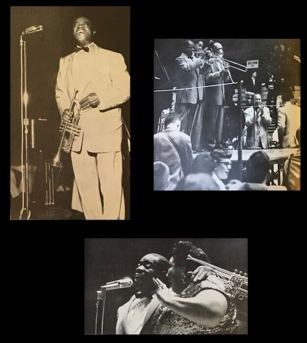 Composite image of shots from Louis Armstrong's performance