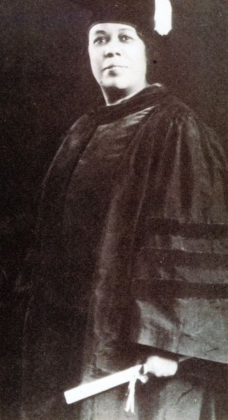 Black and white photo of Jennie Porter graduating