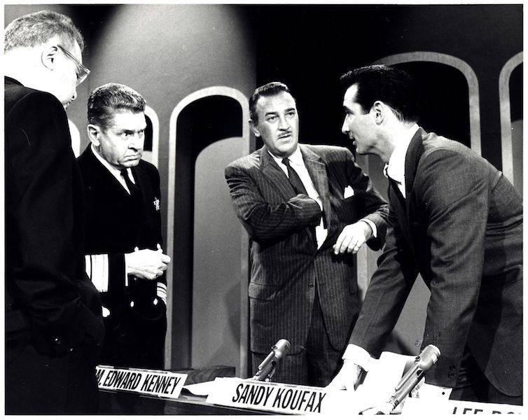 Sandy Koufax and other men on the set of the game show