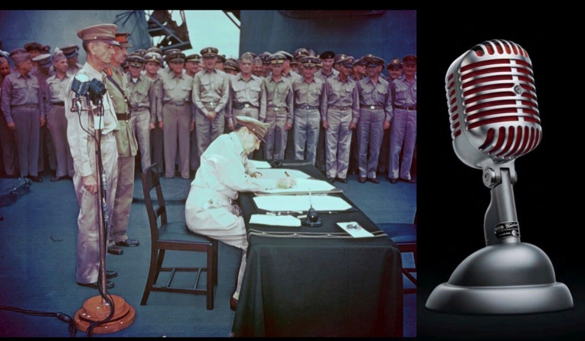 The Shure Unidyne microphone being used aboard the U.S.S. Missouri as Japan surrenders at the end of World War II.