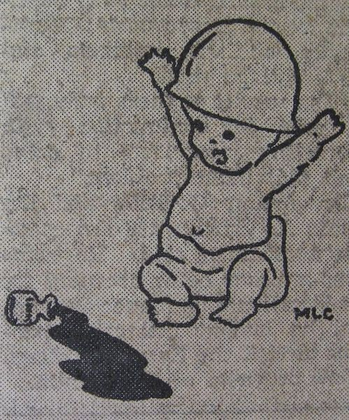 Newspaper illustration of a baby in a soldier's helmet kicking over a bottle of ink